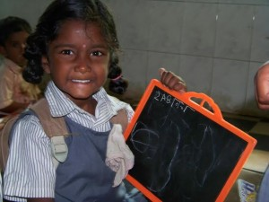 Girl with chalkboard